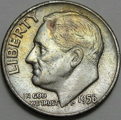 1956 10C Roosevelt Dime, Toned, 90% Silver, #12946