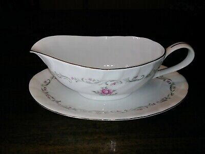 Royal Swirl Fine China of Japan Gravy Boat and Under Plate