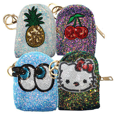 Glitter & Sequin Zip Coin Purse Mini Wallet Small Change Key Card Holder Eyes