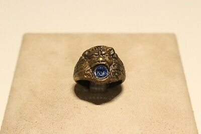 Antique Rare Nice Brass Men's Ring Lion Head With Blue Stone
