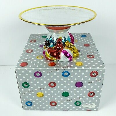 Dept 56 Holiday Dazzle Cake Cupcake Stand Candy Cookie Dish Tray Plate Christmas