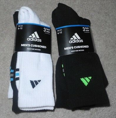 6 Pair Adidas Mens Full Cushioned Moisture Wicking Athletic Blk/Wht Crew Socks
