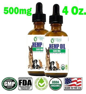 Hemp Oil for pets Cats Dog puppy Stress Anxiety Pain Relief 1000mg 4oz 2PACK