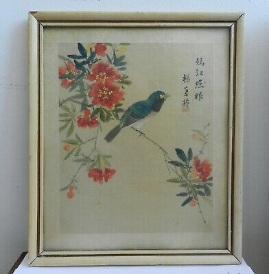 Old vintage Chinese watercolour painting on silk framed