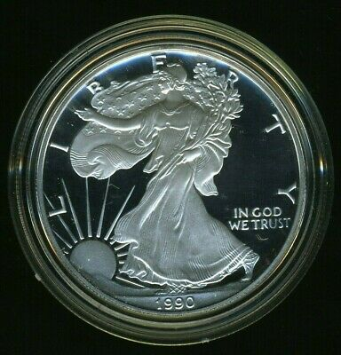 1990-S United States American Silver Eagle Dollar w/ Box & CoA PROOF