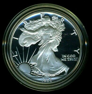 1986-S United States American Silver Eagle Dollar w/ Box & CoA PROOF
