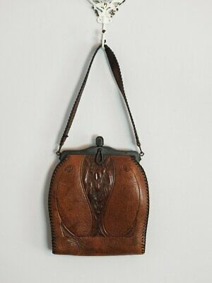 Antique Art Deco Nouveau Arts & Crafts Flower Hand Tooled Brown Leather Purse