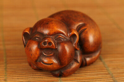 chinese old boxwood hand carved Pig statue netsuke collectable hand piece