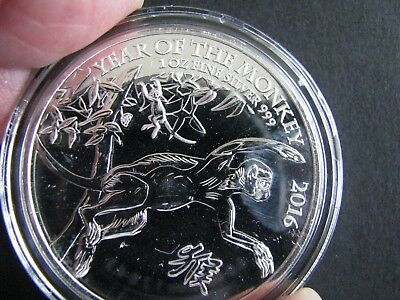Great Britain 2016 Year of the Monkey .999 Silver Coin 1 Oz in Capsule