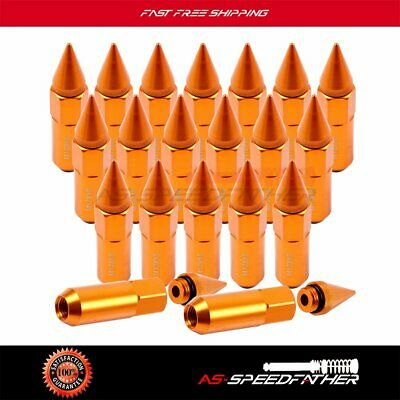 20 PCS Gold Wheels Rims Lug Nuts M12X1.5 Cap Spiked Extended Tuner 60mm Aluminum