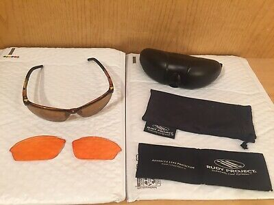 b710e6ccf9122 Rudy Project HYDE Cycling Sunglasses SN93 Brown Tortoiseshell CASE Extra  Lenses