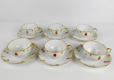 6 Excellent Thomas Bavaria Artist Signed 1926 Hand Painted Cups & Saucers