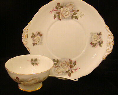 Royal Standard #2488 Fine Bone China Roses Handled Cake Plate + Open Sugar