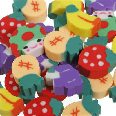 50pcs Cute Mini Fruit Rubber Cartoon Eraser For Children Pencil Stationery Gift
