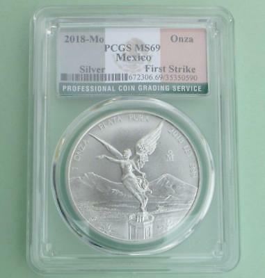 2018 Mo PCGS MS 69 Mexico Libertad, 1 Ounce .999 Fine Silver, First Strike Label