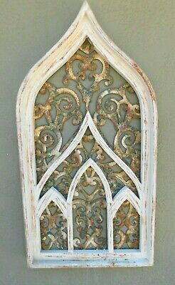 """Wooden Antique Style Church WINDOW Frame Primitive Wood Gothic 32 1/2"""" Shabby"""