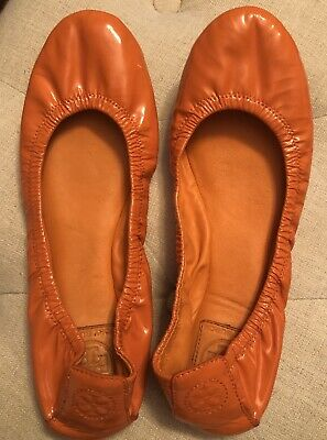 ce2ca526883 TORY BURCH Eddie Ballet Flats Shoes 10 Orange Patent Leather Logo Heel FUN!   250