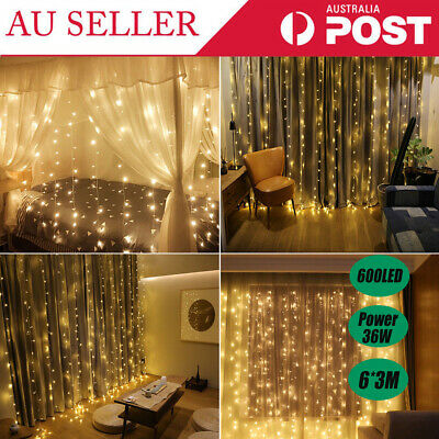 600LED Curtain String Fairy Light Festival Wedding Lighting Waterfall Party 6*3M
