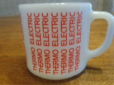 """Federal White Milk Glass Advertising Mug """"Thermo Electric"""""""