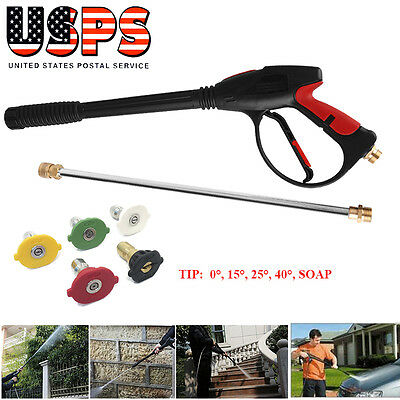 4000PSI Power High Pressure Water Car Washer Spray Gun Lance Hose Nozzle & Tips