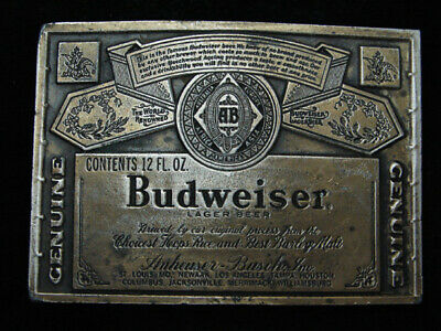 RB03123 VINTAGE 1970s **GENUINE BUDWEISER LAGER BEER** ADVERTISEMENT BELT BUCKLE