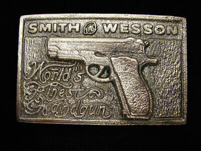 RB07136 VINTAGE 1970s **SMITH & WESSON** SOLID BRASS GUN & FIREARM BELT BUCKLE