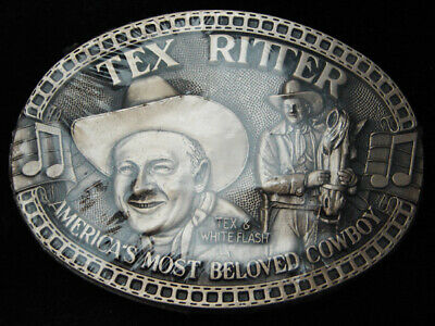 RC15163 *NOS* VINTAGE 1980s **TEX RITTER** COMMEMORATIVE SOLID BRASS BELT BUCKLE