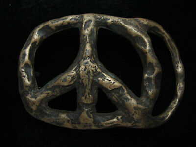 RB03156 VINTAGE 1970s CUT-OUT **PEACE SIGN** SOLID BRASS BELT BUCKLE