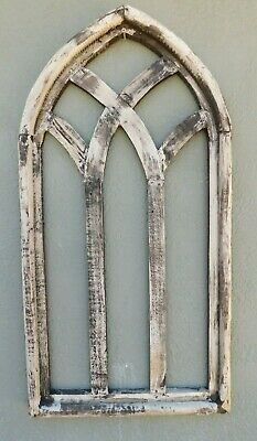 """Wooden Antique Style Church WINDOW Frame Primitive Wood Gothic 32 1/4"""" Shabby"""