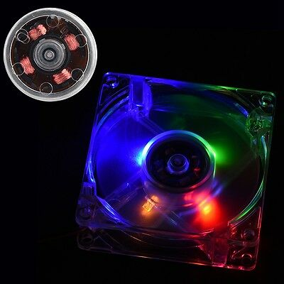 80mm Transparent 4 Pin CPU Cooling Fan Radiator for PC Computer with LED Light