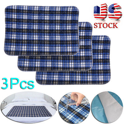 3PC 45x 60 Kids Bed Reusable Washable Adult Incontinent Pad Underpads Waterproof