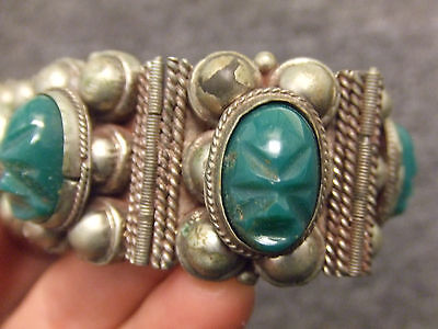 Mexican Sterling Silver Bracelet Ethnic Cultural Aztec Masks Green Jade or Onyx