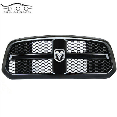 Front Grille Hood Bumper for 2014-2017 Dodge Ram 1500 Honeycomb Mesh Gloss Black