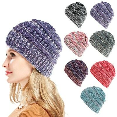 Women Lady Stretch Knitted Beanie Hat Thick High Ponytail Winter Warm Wool Cap