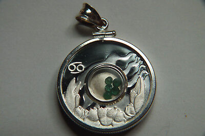 Gemstone Zodiac Series Cook Island 1 Dollar Coin With 5 Emerald Chips.
