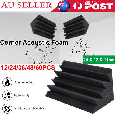 60PCS Studio Acoustic Foam Corner Bass Trap Sound Absorption Treatment Proofing