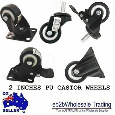 "1 PCS 2"" 50mm PU  Castor Wheels Swivel BRAKE M10 Bolt & NUTS  Heavy Duty Caster"