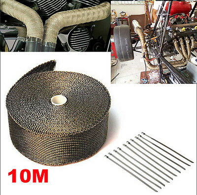 EXHAUST HEAT WRAP 50MM X 10M + 10 STAINLESS STEEL TIES TITANIUM  AU Stock
