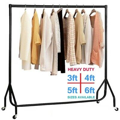 4/5FT heavy Duty Clothes Garment Rail Hanging Rack Stand Shop Display Load 150KG