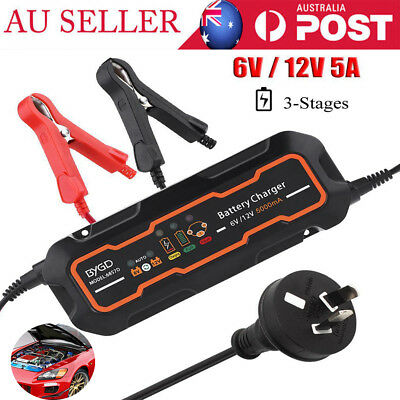 6V/12V 5A Automatic Smart Battery Charger for Car Vehicle Truck Motorcycle Boat