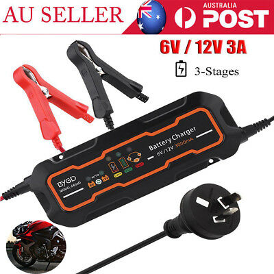 6V/12V 3A Automatic Smart Battery Charger for Car Vehicle Truck Motorcycle Boat