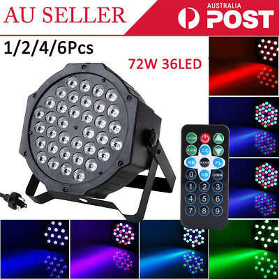 1/2/6x 72W 36LED RGB Stage Light Par Lighting Club DJ Party Disco DMX512 Control
