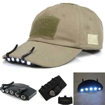 Clip-On 5 LED Cap Head Light Headlamp Torch Outdoor Fishing Camping Hunting BE