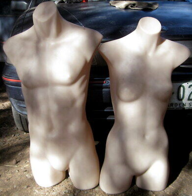 2 life size diaplay manaquin torsos , 1 male , 1 female , thick nylon .