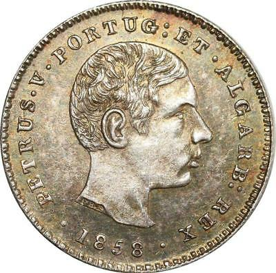O8011 Scarce Portugal 100 Reis Pedro V 1858 PCGS AU58 ->Make offer