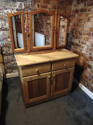 Solid rustic pine 1980's carved 2 door & 2 drawer sideboard with pine mirror