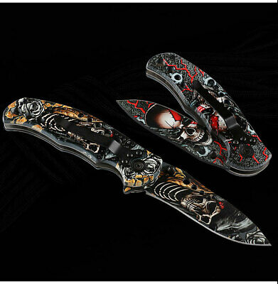 Camping 3D Pattern Spring Assisted Folding Knife Outdoor Tactical Pocket Blade