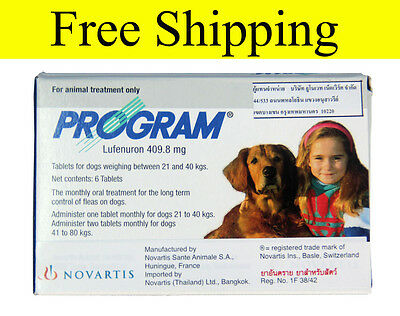 Program Tablets For Dogs 409.8 mg 46-88 Lbs 6 table Flea Control Treatment