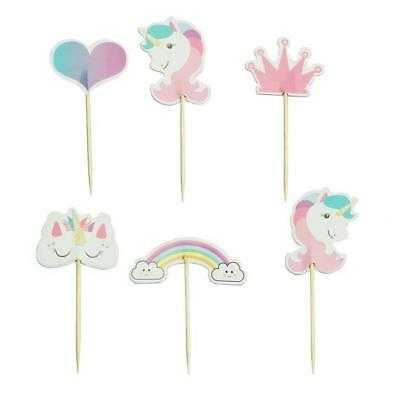 24 Stand Up Mini Rainbow Unicorn Edible Cupcake Cake Decoration Images Topper Ds
