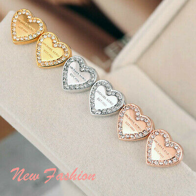 Fashion Elegant Gold Silver Rose Heart Crystal Stud Charm Earrings Jewelry UK